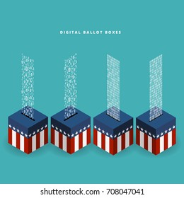 Vector illustration of ballot boxes with digital binary input.