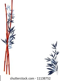 Vector illustration of bamboo canes and leaves framing an open area
