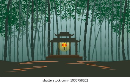 Vector illustration of Bamboo forest with chinese gate