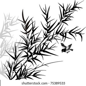 Vector illustration of bamboo twig's  silhouette and bird.