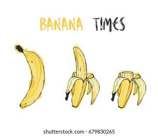 Vector illustration - Bananas set. Banana, peeled banana and sliced banana