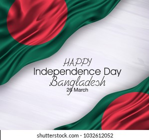 Vector illustration of Bangladesh Happy Independence Day 26 Februay. Waving flags isolated on gray background.