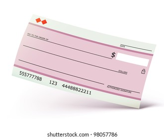 Vector illustration of bank check isolated on the white background