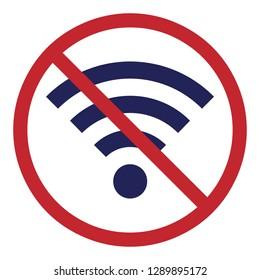 vector illustration of banned wifi symbol for offline activities and digital break concept