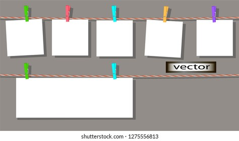 Vector illustration of banner advertising label hung on pins to twisted rope sheet blank text message large and small writing paper