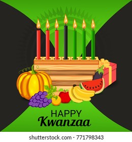 Vector illustration of a Banner for African Kwanzaa festive concept with decorative candles red, black and green, pumpkins, grapes, orange, apple, banana, bowl and gift box.