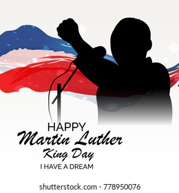 Vector illustration of a banner with American Flag For Martin Luther King Day.