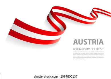 Vector Illustration Banner with Austrian Flag colors in a perspective view