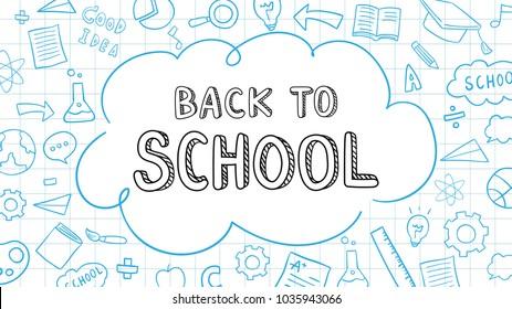 Ilustración vectorial diseño de fondo esbozar elemento de educación,Plantilla para escuela.Dibujar estilo de caricatura de doodle.