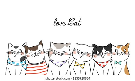 Vector illustration banner background portrait cute cats on white.Doodle cartoon style.