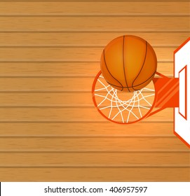 Vector illustration, banner, a basketball court, a ball in a basket, space for text, top view