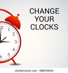 Vector illustration of a Banner for Change your clocks message for Daylight Saving Time.