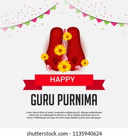 Vector Illustration of a Banner for the Day Of Honoring Celebration Guru Purnima with Text Space Background.