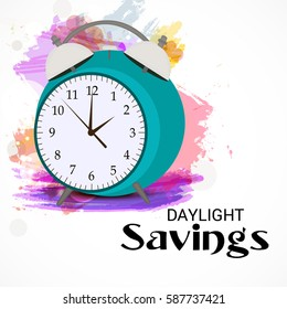 Vector illustration of a Banner for Daylight Saving Time with time clock.