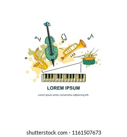Vector illustration, banner design template with musical instruments. Musical event icon.Template for music festival, jazz party, invitation, greeting card, concert poster, school of music.