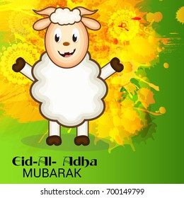 Vector illustration of a Banner for Eid-al-adha festival background with sheep.