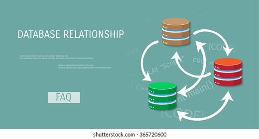 Vector illustration banner. Flat background. Database, server, information transfer. Global storage.