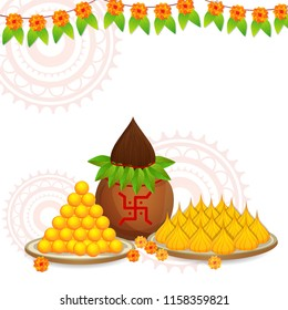 Vector illustration Banner for Ganpati Chaturthi with Sweets, Modak and kalash.