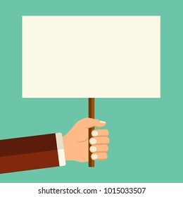 Vector illustration banner in the hand. Mans hand holding blank board in flat style, place for text concept.