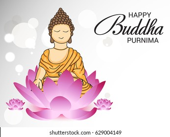 Vector illustration of a Banner for Happy Buddha Purnima.