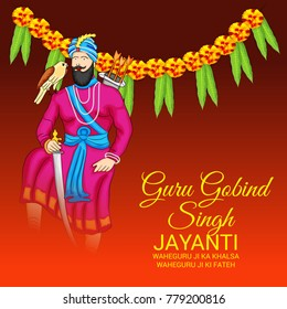 Vector illustration of a Banner for Happy Guru Gobind Singh Jayanti festival of Sikh celebration.