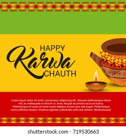 Vector illustration of a Banner for Happy Karwa Chauth.