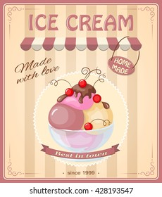 Vector illustration banner with home made current ice cream in the glass bowl and chokolate sauce on the vintage background. eps10