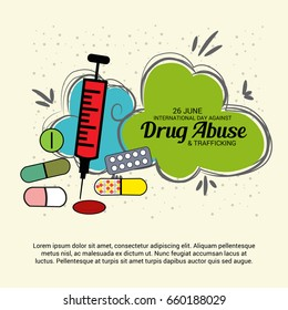 Vector illustration of a Banner for International Day Against Drug Abuse and Trafficking.