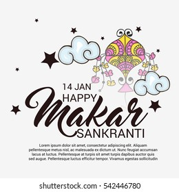 Vector illustration of a Banner For Makar Sankranti with Beautiful Text.