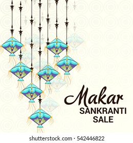 Vector illustration of a Banner For Makar Sankranti with Beautiful Hanging Kites.