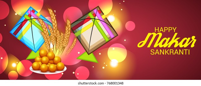 Vector illustration of a Banner for Makar Sankranti Celebration with Colorful Kites.