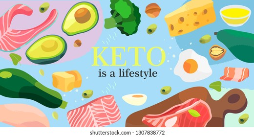 Vector illustration for a banner or other promotional materials. Ketogenic diet products on a colorful background. A set of healthy food.
