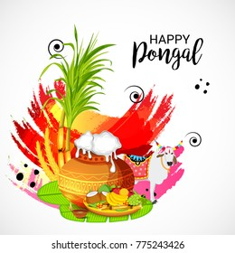 Vector illustration of a Banner for Pongal Celebration.