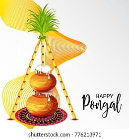 Vector illustration of a Banner for Pongal Celebration.