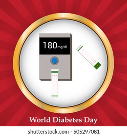 Vector illustration of a Banner or Poster For fight against diabetes with Glucose meter in Red Background.