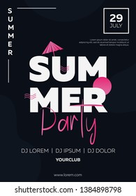 Vector illustration, banner, poster, flyer, inspired by the disco music of the 80s, 3d background, neon, summer party, dark background. Night club, music, beach.