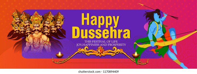 Vector illustration banner or poster for Happy Dussehra Navratri celebration, Lord Rama with hanuman in India holiday advertisement sale promotion offer background.