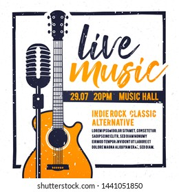 Vector illustration banner or poster for live music festival with orange guitar in retro style