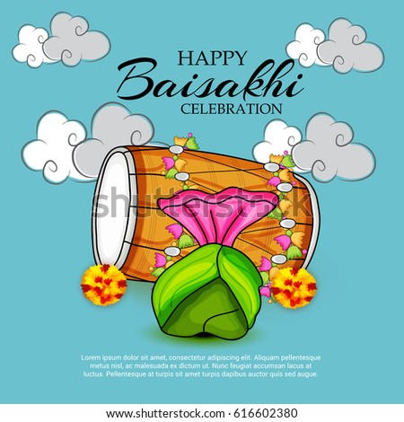 vector illustration of a banner for punjabi new year happy baisakhi