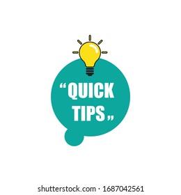 vector illustration banner Quick tip. Idea bulb education tricks.