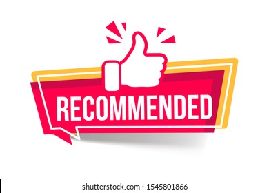 vector illustration banner recommended with thumbs up