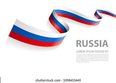 Vector Illustration Banner with Russian Flag colors in a perspective view