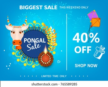 Vector illustration of a Banner For South Indian harvesting festival Happy Pongal celebration