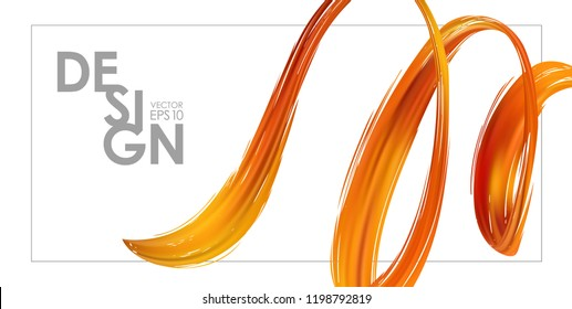 Vector illustration: Banner template with 3d orange abstract brush stroke acrylic paint shape. Liquid wave. Trendy design