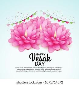 Vector illustration of a Banner for Vesak Day with Pink Lotus Flower.