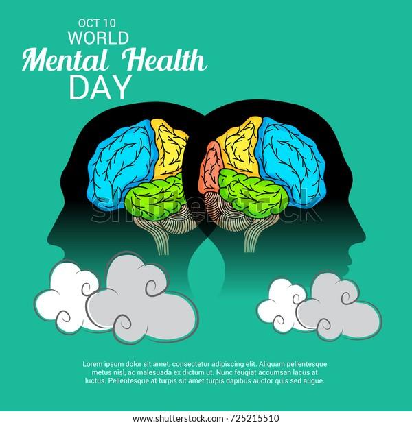 Vector Illustration Banner World Mental Health Stock Vector Royalty Free 725215510