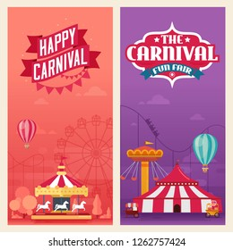 Vector illustration of banners for amusement park carnival