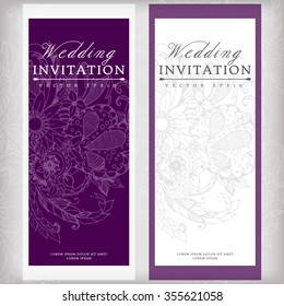 Vector illustration banners cards wedding invitation with floral zentangl. Vertical. Purple.