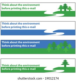 Vector illustration banners with environmental message, to be used in e-mail signatures