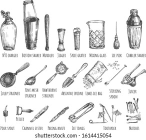 Vector illustration of bar barman instruments and tools set. N2O charger, shaker, muddler, jigger, grater, mixing glass, ice pick, spoon, juicer, peeler, knife, matches. Vintage hand drawn style.